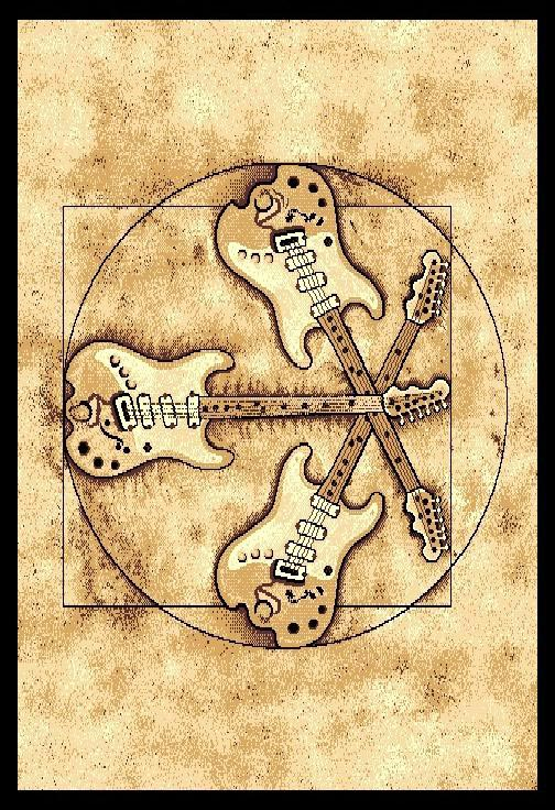Music Theme Electric Guitars Rock And Roll Design 5x7 Area